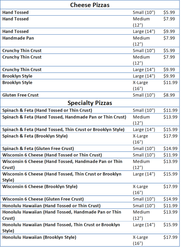 Domino's Menu and also the Prices