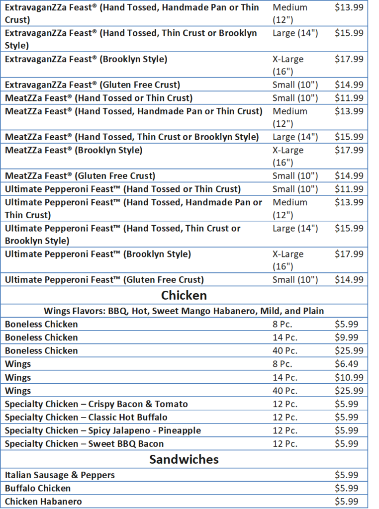 Domino's Menu and the Prices